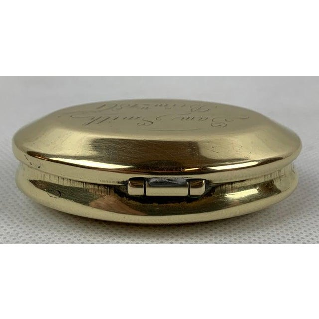 """Victorian Simple 19th Century Oval Brass Snuff Box """"Sam Smith"""", 1861 For Sale - Image 3 of 8"""
