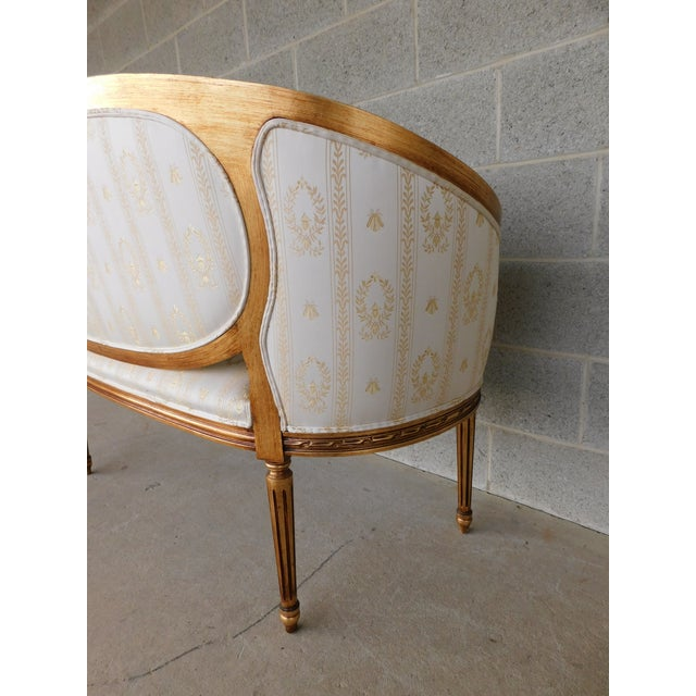 """Quality Louis XVI Style Gilt Frame Settee Sofa 57""""w For Sale - Image 12 of 13"""