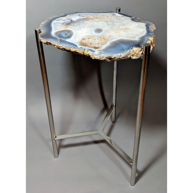 Early 21st Century Organic Modern Natural Agate Slice Accent Table For Sale - Image 5 of 12