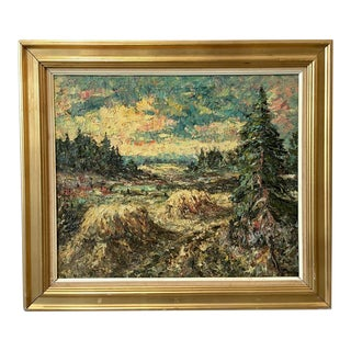 Swedish Oil Painting on Canvas Trees in Forest For Sale