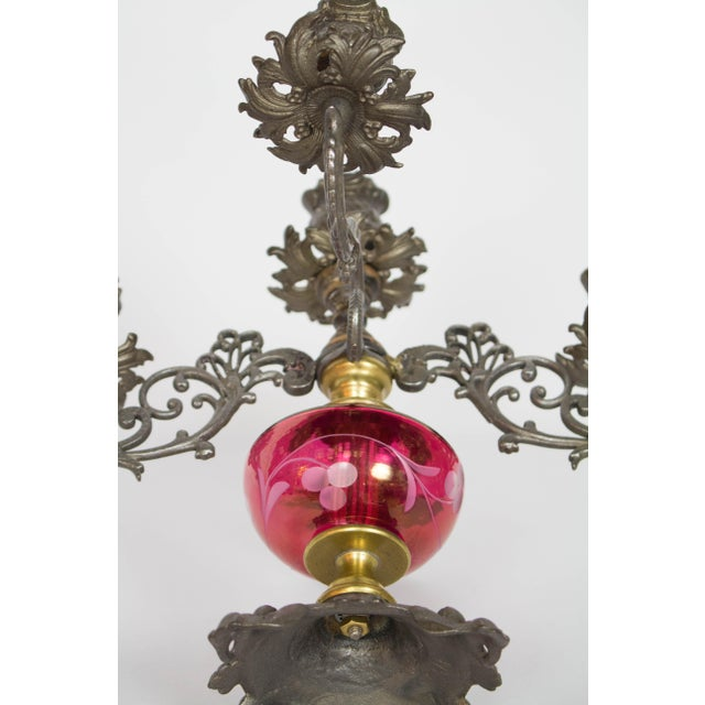 Late 19th Century Cranberry Glass Candelabra - A Pair For Sale - Image 5 of 9