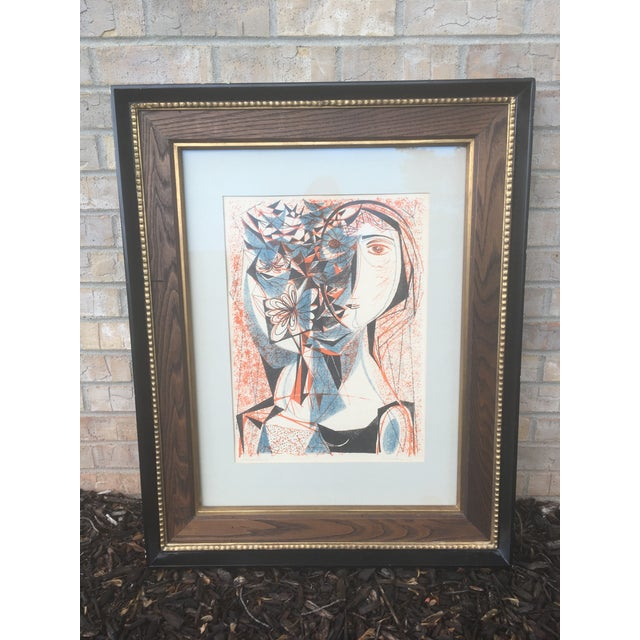 Vintage Mid-Century Richard Zoellner Abstract Woman Flower Lithograph Print For Sale - Image 12 of 13