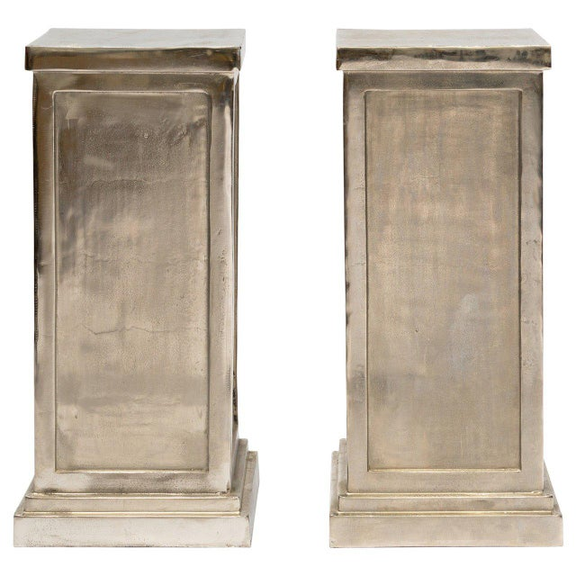 Silver Pair of Metal Alloy Pedestals For Sale - Image 8 of 8