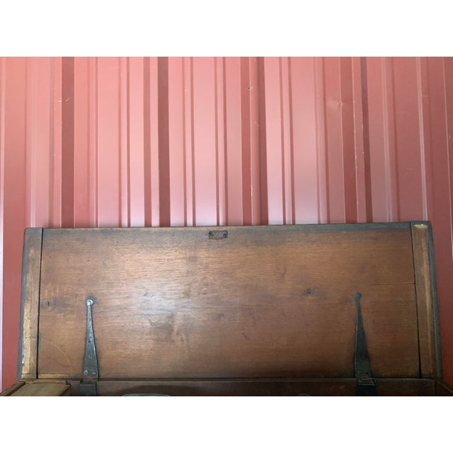 Metal 19th Century American Dark Blue Painted Trunk For Sale - Image 7 of 9