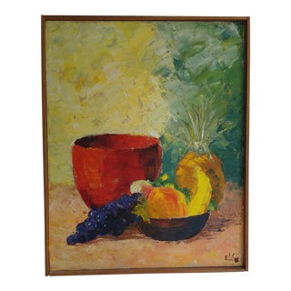 Mid-Century Fruit Bowl Still Life Painting