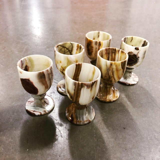 Set of 6 carved onyx goblets, made in Pakistan. Gorgeous marbling detail.