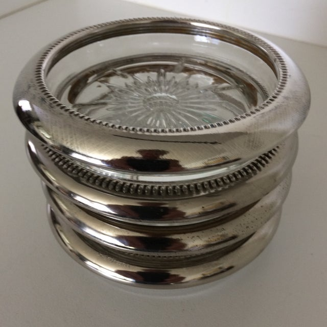 Vintage Italian Crystal Silver Plated Rim Coasters by Leonard - Set of 4 For Sale - Image 9 of 11
