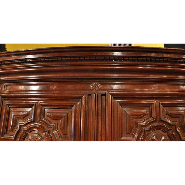 18th Century French Carved Walnut Bow-Front Perigord Armoire - Image 3 of 8