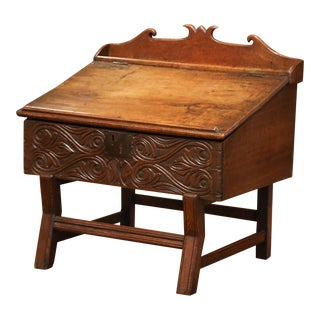 18th Century French Carved Walnut Desk on Legs With Slant Top and Inside Storage For Sale