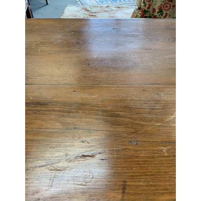 Wood Antique Rustic Pine Two-Tier Side Table For Sale - Image 7 of 9
