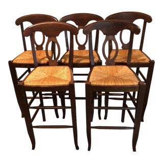 Vintage Farmhouse Style Rush Counter Stools - Set of 5