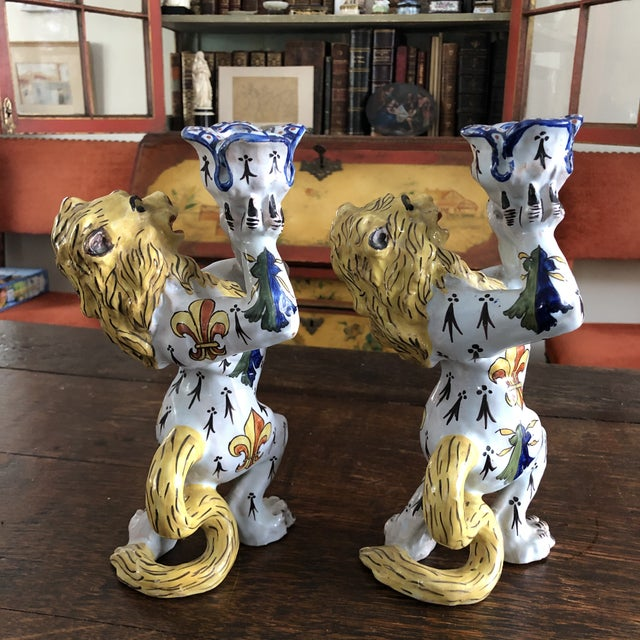 Mid 19th Century French Victorian Quimper Faience Ceramic Heraldic Lion Candlesticks - a Pair For Sale - Image 4 of 13