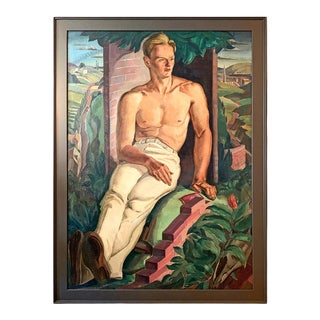 """Early 20th Century """"Bricklayer at Rest"""" Regionalist Style Portrait Oil Painting by Paul Ulen, Framed For Sale"""