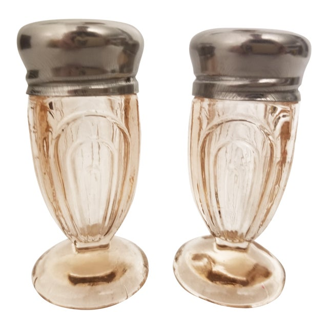 Vintage Art Deco Pressed Pink Glass Footed Salt and Pepper Shakers - a Pair For Sale