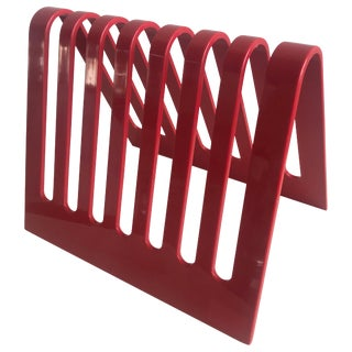 Postmodern Spectrum Red Lucite Magazine Rack or File Holder For Sale