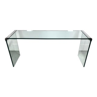 Modern Glass & Chrome Console Table by Leon Rosen for Pace For Sale