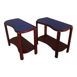 1940s Art Deco Pair Blue Glass Cherrywood End Tables - a Pair