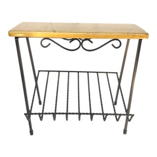 Mid-Century Modern Twisted Wrought Iron Magazine Stand, Seat, Table, or Shoe/Wine Rack