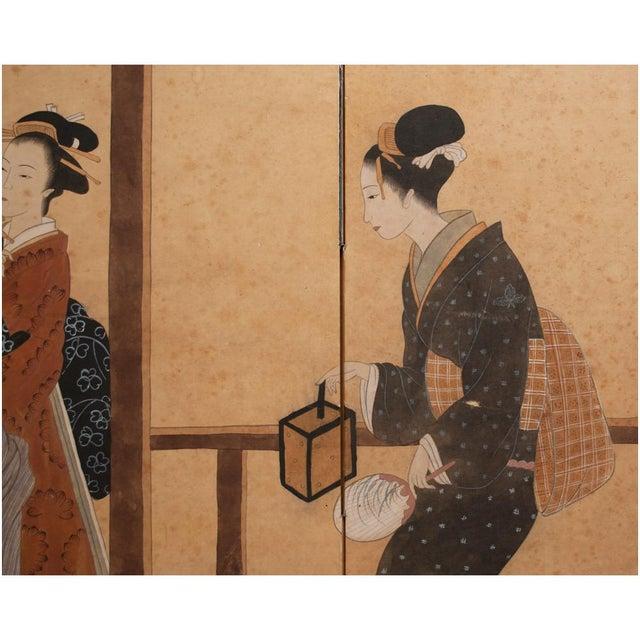 Late Meiji Era Ukiyo-E Style Large Japanese Screen For Sale In Dallas - Image 6 of 11