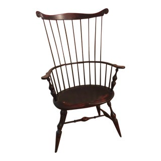 Vintage d.r. Dimes Wakefield High Comb Back Chair For Sale