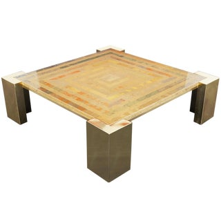 Exceptional Italian Brass Coffee Table by Marcello Mioni For Sale
