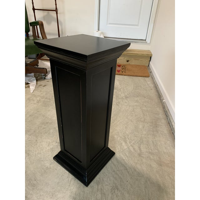 Vintage rustic black squared wood column with widening ends display pedestal. With the widened bases it is very balanced...