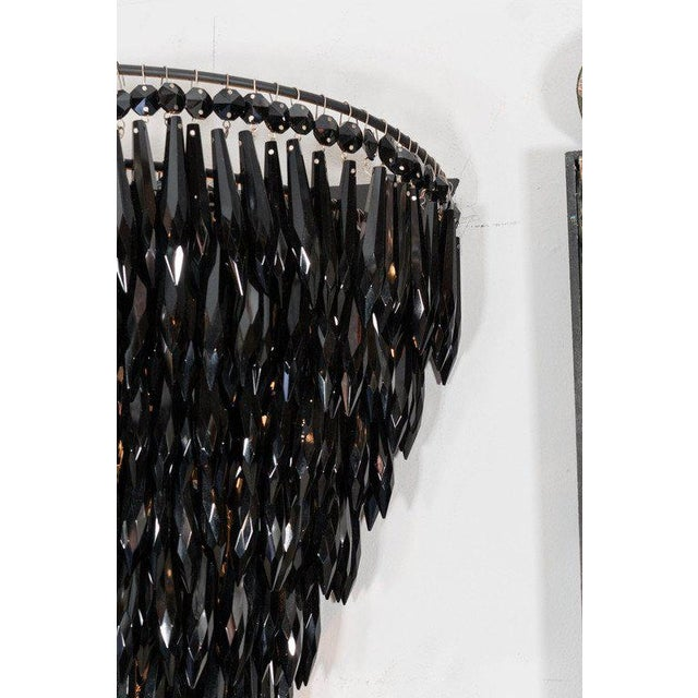 2010s Pair of Elegant Black Crystal Fringe Sconces For Sale - Image 5 of 6