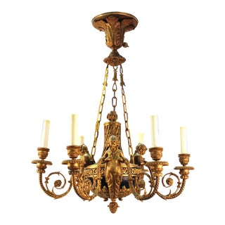 French Empire Style Neoclassical Revival Ormolu Chandelier For Sale