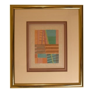 1970s Modernist Abstract Collage by C. Dunlap for Harris Strong, Framed For Sale