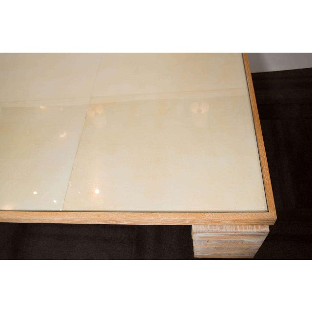 Monumental Limed Oak Coffee Table With Parchment Top For Sale - Image 4 of 8