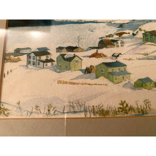 Wood Winter Scene of a Lakeside Nordic Town Watercolor Painting, Framed For Sale - Image 7 of 11