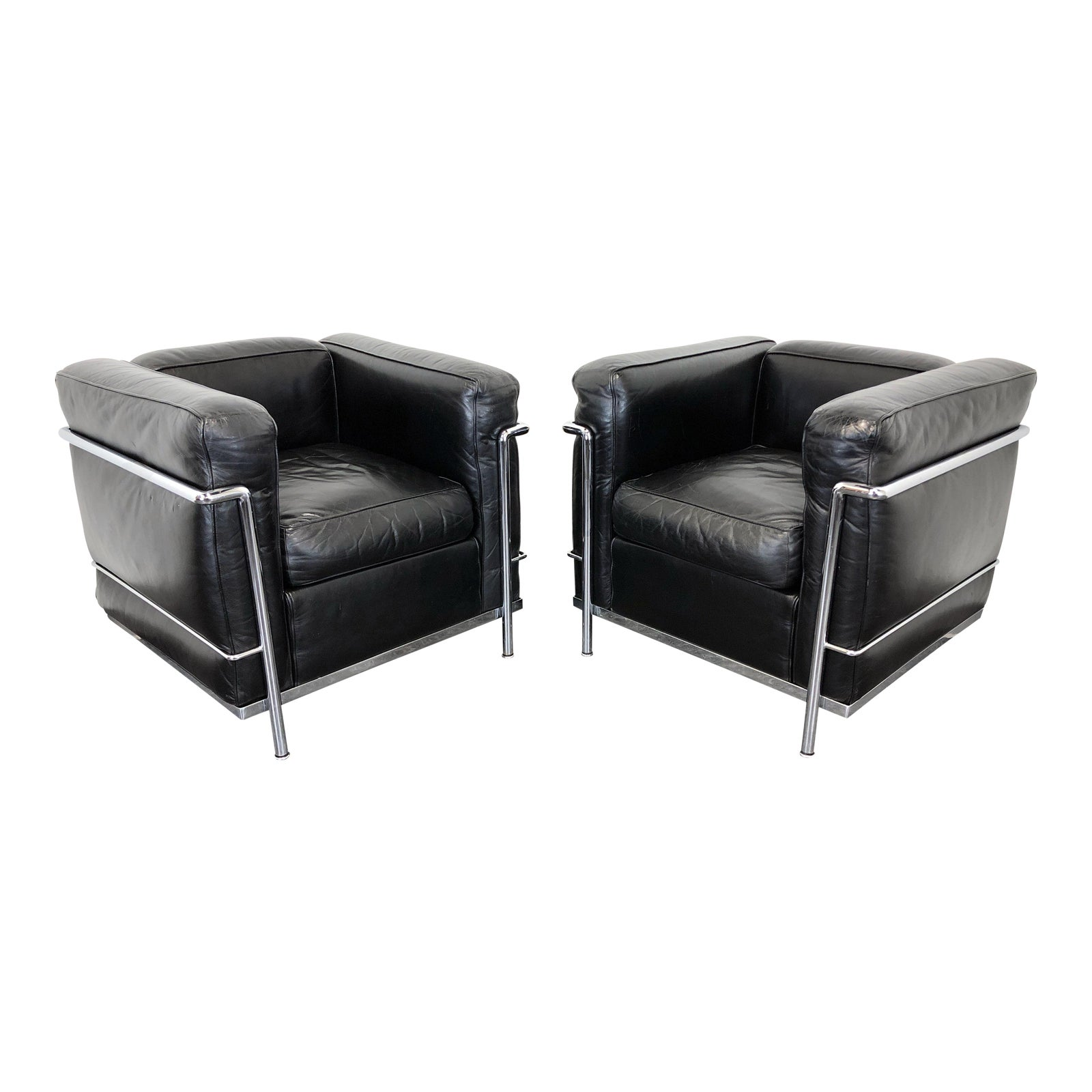 Cassina \'Lc2 Petit Modele\' Le Corbusier Club Chairs in Leather