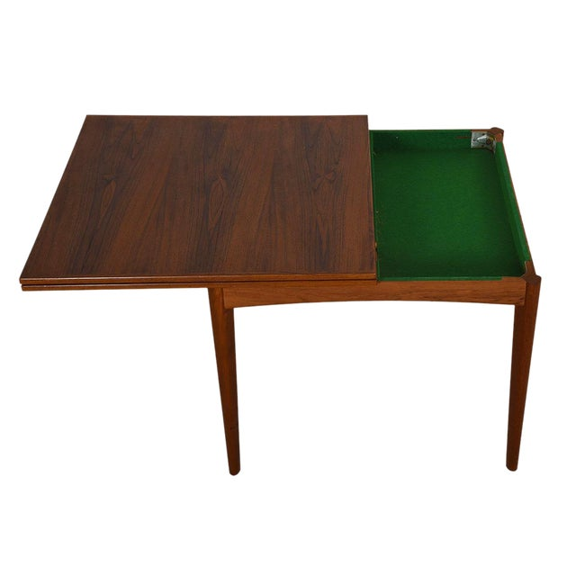 Danish Modern Teak Square to Rectangle Dining / Game Table For Sale