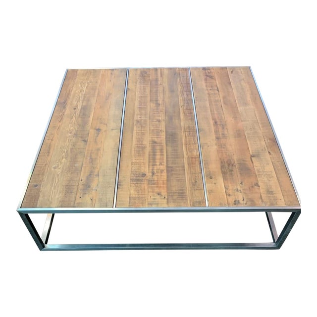 Contemporary Distressed Wood & Chrome Extra Large Square Coffee Table For Sale