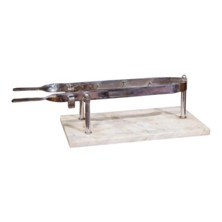 Early 20th Century French Stainless Steel and Marble Butcher Meat Holder For Sale