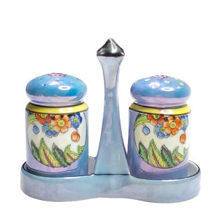 Antique Noritake Blue Porcelain Lusterware Salt and Pepper Shakers Cruet For Sale