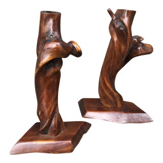 Vintage Mid-Century Gnarled Burl Wood Candle Holders- A Pair For Sale