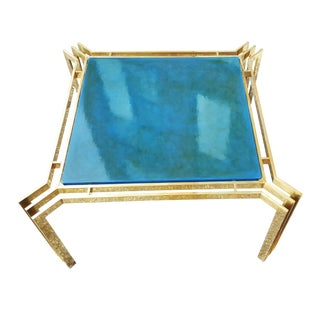 1940s Art Deco Brass and Blue Lacquer Coffee Table For Sale