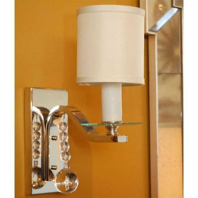 Glass Ball Sconce by Paul Marra featuring glass balls and bobeche shown in polished nickel & with shade. Four remaining...