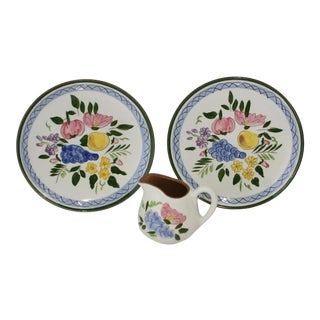 Vintage Stangl Hand Painted Pottery Fruit & Flowers Pattern Dinnerware 3 Piece Set For Sale