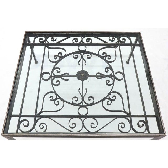 Massive Wide Rectangle Glass Top Wrought Iron Coffee Center Table For Sale - Image 6 of 11