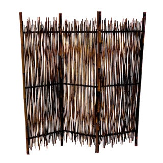 Rustic Tiki Style Italian Burnt Tortoise Bamboo Rattan Room Divider Screen For Sale