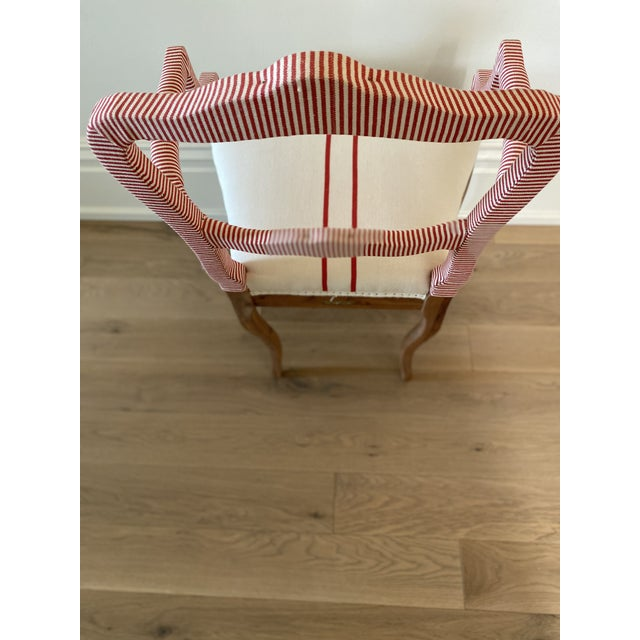 Bunakara Two Stripe Arm Chair in Imperial Red For Sale - Image 4 of 7
