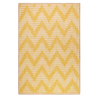 Chevrons N.32 Yellow Cashmere Blanket, 51' X 71' For Sale