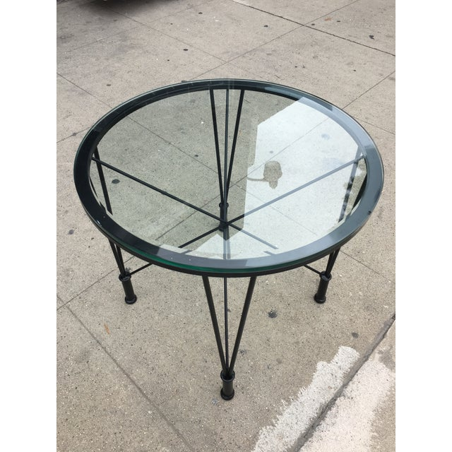 1970s Post Modern Glass Top Round Metal Side Table For Sale - Image 4 of 10