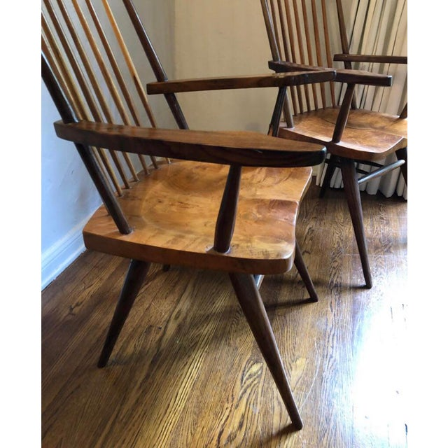 """Mid 20th Century 1940s Vintage George Nakashima Style """"New"""" Chairs- A Pair For Sale - Image 5 of 6"""