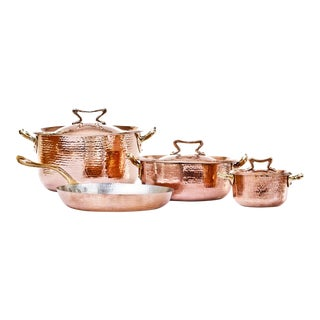 Amoretti Brothers Handmade Copper Cookware Set Standard Lid - 7 Pieces For Sale