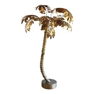 Monumental Life Size Vintage Mid Century Maison Jansen Articulated Brass Palm Tree Tropical French Sculpture Hollywood Regency Style 1960s For Sale