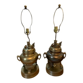 Large Brass Foo Dog Lamps - a Pair For Sale