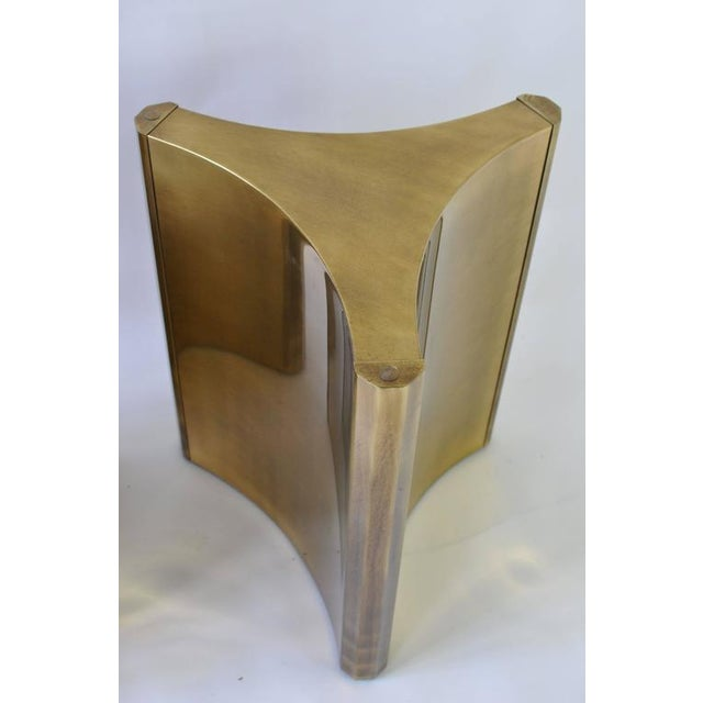 Abstract Pair of Mastercraft Brass Dining Table Pedestals For Sale - Image 3 of 7